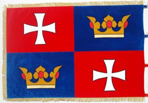 Vyšívaná vlajka obce Chvalšiny.