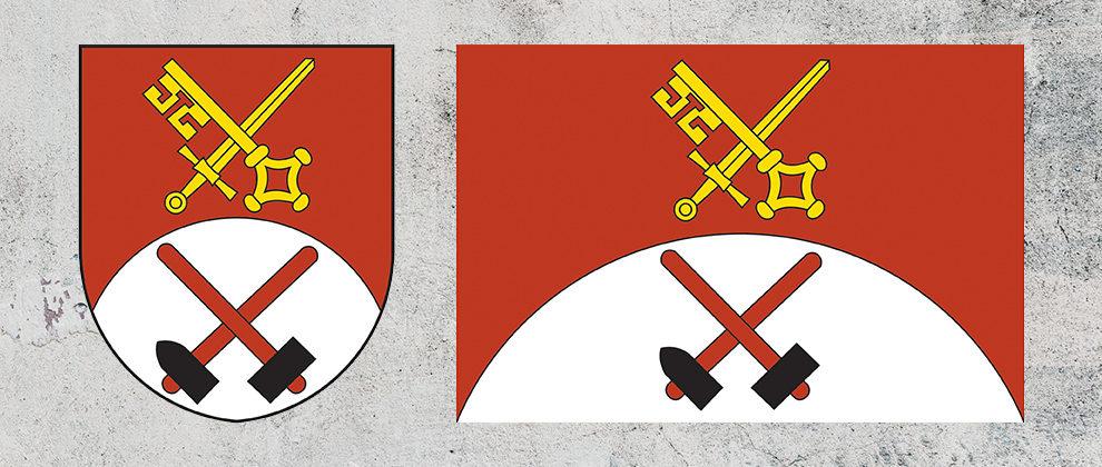 Znak a vlajka obce Bílý Kámen