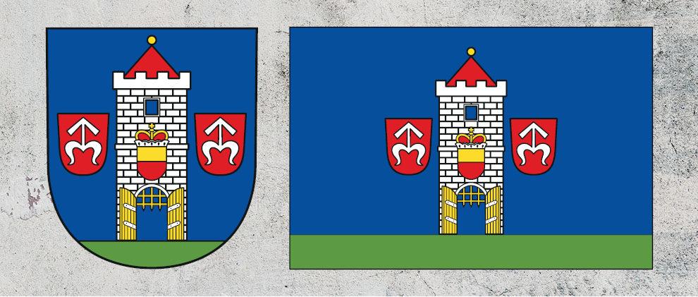 Znak a vlajka města Moravský Krumlov