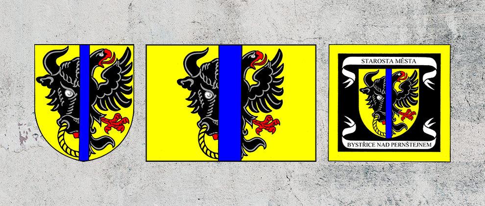 Znak, vlajka a standarta starosty města Bystřice nad Pernštejnem